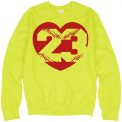Softball Yellow Softball Mom or Player Sweatshirt