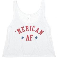 8757002f24968 Ladies Slim Fit Crop Top Tank · Funny Patriotic Merica AF