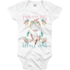"Tribal Inspired ""Bream Big"" Onesie with Dreamcatcher"