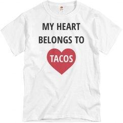 My Heart Belongs to Tacos Men's Valentine's Tee