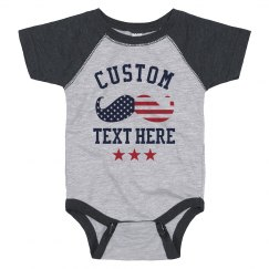 Custom July Fourth Baby Mustache