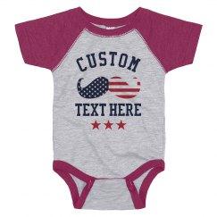 Custom July Fourth Baby Mustache