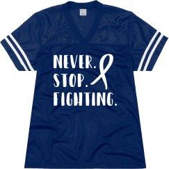 Never stop fighting ALS football shirt.