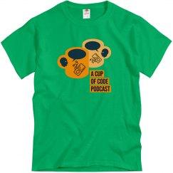 Mens Green A Cup of Code Podcast Alt-Design T-Shirt