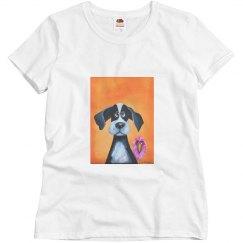 Dog with bird orange background (t shirt)