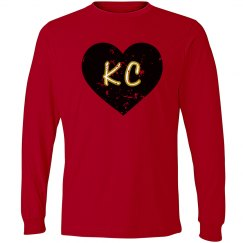 I Heart KC LS - red/black - ultrasoft - distressed