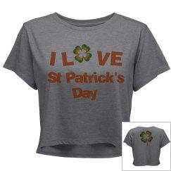 I love St Patrick's Day, Crop Tee