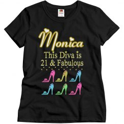 21 AND FABULOUS SHOE QUEEN PERSONALIZED T SHIRT