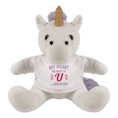 My Heart Belongs to U Stuffed Unicorn