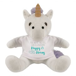 Funny Happy & Horny Stuffed Unicorn