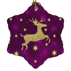 Golden Reindeer & Stars Purple