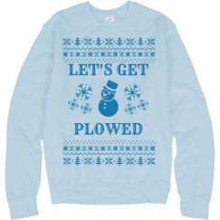 Get Plowed Snowy Ugly Sweater