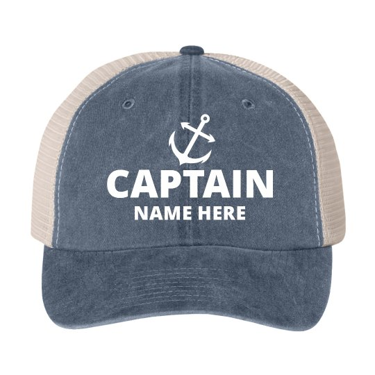 bb04eb4f41f Custom Captain Name Father s Day Cotton Twill Snapback Trucker Hat
