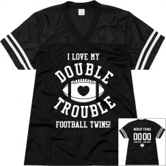Funny Football Mom to Twins With Custom Back Text