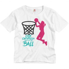 Pink girl youth w/basketball graphic