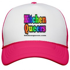 Kitchen Queers Neon Pink Rainbow Logo Hat