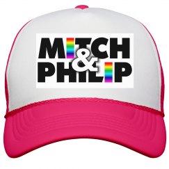 Kitchen Queers Neon Pink Rainbow Logo Hat