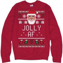 Jolly AF Ugly Santa Chrismas Sweater