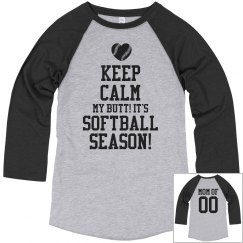 Funny Keep Calm Softball Mom Shirt With Number