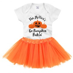 Custom Family Pumpkin Pickin' Baby Onesie & Tutu