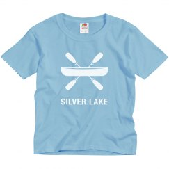 Youth Silver Lake t-shirt with canoe design.