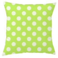Lime Green Polka Dot Throw Pillow Cover