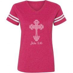 John 3:16 Cross V-neck Tee