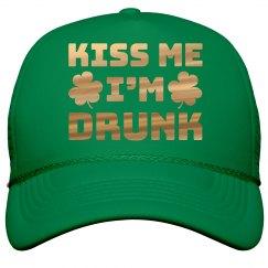 Metallic Kiss Me I'm Drunk Hat
