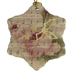 Pink Rose Sheet Music Golden Stars & Holly