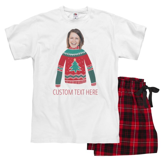 Funny Christmas Pjs.Matching Couple Funny Custom Photo Upload
