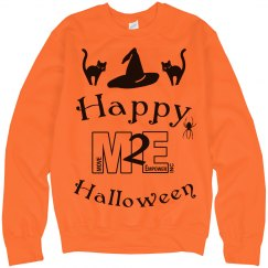 Happy Halloween Cat and Witch Hat Orange Sweatshirt