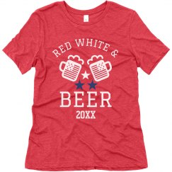 Custom Date Red White & Beer