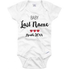 Custom Last Name Hearts Bodysuit