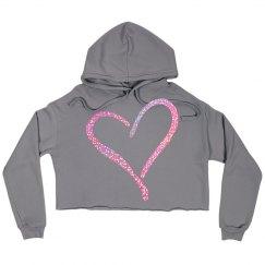 Pink Glitter Open Heart