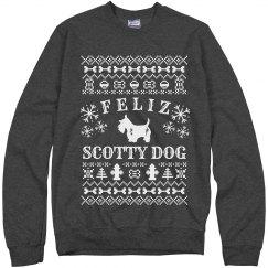 Feliz Scotty Dog Ugly Xmas Sweater