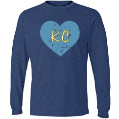 I Heart KC LS - blue/lt. blue - ultrasoft - distressed