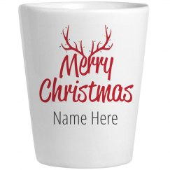 Reindeer Christmas Custom Name Shot Glass