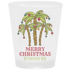 Christmas Palm Tree Vacation Shot Glass