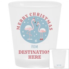 Christmas Flamingo Vacation Shot Glass