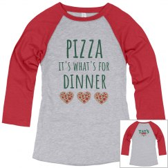 Pizza Dinner 3/4 sleeves red