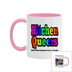 Kitchen Queers Two Tone Rainbow Logo Mug