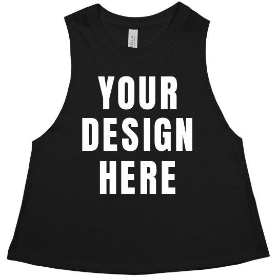 f65f17f364e Your Design Here Cut-Off Crop Ladies Racerback Cropped Premium Tank Top