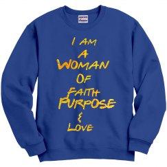 Woman Of Faith Royal Sweatshirt with Glitter