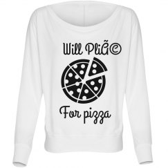 Will Plie For Pizza Long Sleeve Over Shoulder