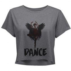 Ballerina With Wings Dancing Ladies Crop Shirt