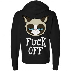 Grumpy Cat Fu ck Off Womens Zip Hoodie