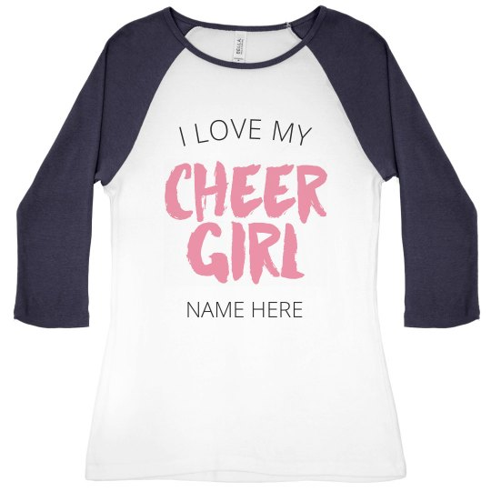 fb1dfa3c8 I Love My Cheer Girl Ladies Slim Fit 3/4 Sleeve Raglan T-Shirt