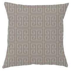 Taupe Greek Key Pattern Throw Pillow