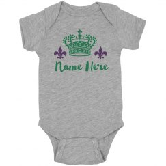 Custom Name Crowned Mardi Gras Bodysuit