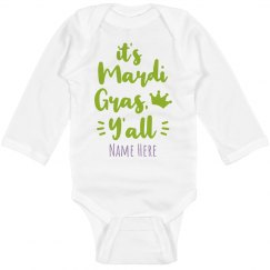 Custom Name Mardi Gras Y'all Onesie
